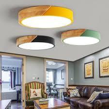 Nordic Hout Led Plafond Verlichting Moderne Kleurrijke Slaapkamer