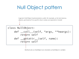 Null Object Pattern Delectable Null Object Pattern Class NullObject