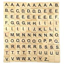 Craft Decor Tiles 100x Wooden Alphabet Scrabble Tiles Black Letters Numbers Board 53