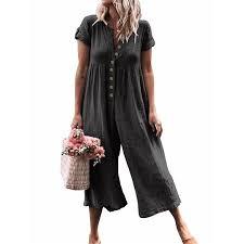 Celmia <b>Women's Loose</b> Casual <b>Wide Leg</b> Cropped Jumpsuits Pants ...