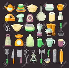 colorful kitchen utensils. Delighful Kitchen Set Of Colorful Kitchen Utensils Used For Cooking Breakfats Or Dinner  Stock Vector  46908258 For Colorful Kitchen Utensils