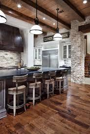 Brick Flooring For Kitchen Kitchen Awesome Kitchen Decoration With Brown Teak Wood Kitchen