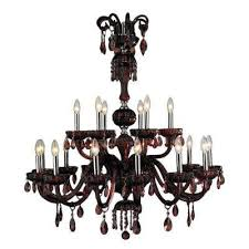 carnivale 18 light polished chrome and cranberry crystal 2 tier large chandelier