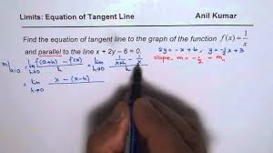 find equation of tangent line parallel to given line for reciprocal function
