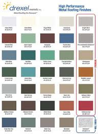 Standing Seam Roof Color Chart Metal Roof Color Chart For Metal Roof Installing Metal