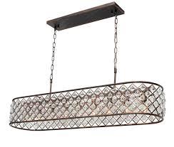 ciel rectangular crystal chandelier oil rubbed bronze light up