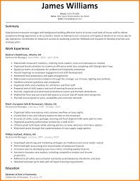 Amazing Resume Cover Letter Examples Restaurant With Additional