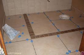 tile floor in progress using spacers