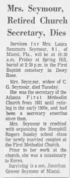 Obituary for Laura Virginia Summers Seymour (Aged 91) Korea Missionary -  Newspapers.com
