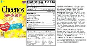 food label for cheerios categories food label cheerios