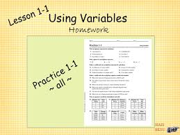 10 lesson 1 1 using variables homework practice 1 1 all main