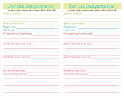 babysitter information sheet printable 28 images of daily babysitting template boatsee com