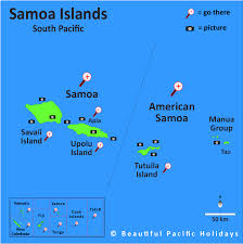American samoa is a group of islands in the south pacific ocean that lie about halfway between hawaii and new zealand and about 100km east of the island country of samoa, which is part of the same archipelago, ethnicity and culture. Map Of The Samoan Islands Showing Hotel Locations
