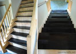 Painted Wood Stairs Staircase Makeover Filling Holes And Staining Treads Jenna Burger