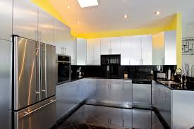 wonderful l shaped kitchen with island. Crown Molding Black Granite Countertops Red Round Bar Chairs U Shaped Kitchen Wonderful Design White L With Island