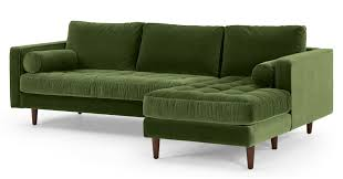 scott 4 seater right hand facing chaise end sofa grass cotton velvet made com
