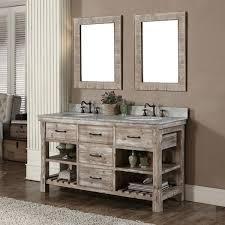 60 inch wide rustic double sink bathroom vanity cabinet marble top