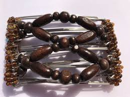 one clip small 5 gs with brown wooden beads