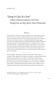 """(PDF) """"<b>Drop It Like It's</b> Hot"""": Culture Industry Laborers and Their ..."""