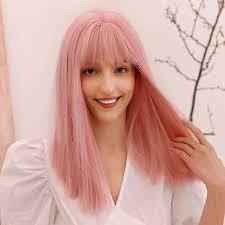 Fashion <b>Medium</b> Length Straight Bangs <b>Synthetic</b> Wig Heat ...