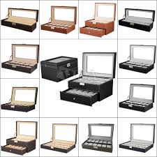watch box large 24 mens black leather display glass top jewelry leather mens watch box display case organizer glass top jewelry storage in jewelry watches