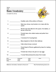 bees wordsearch vocabulary crossword and more print the pdf bees vocabulary sheet