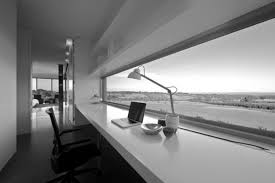 Contemporary desks for home office Small Space Enchanting Open Views Long Glass Windows And White Solid Finished Rectangle Laptop Contemporary Desk For Minimalist Home Office Furnishings Ideas Glasgowbaptistinfo Enchanting Open Views Long Glass Windows And White Solid Finished