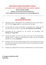 Lkg Admission 2018 2019 Donboscoschoolvaduthala