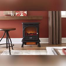 Duraflame 500 Black Infrared Freestanding Electric Fireplace Stove -  DFI-500-4