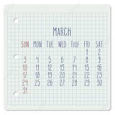 Monthly Calendar Notebook March Year 2019 Vector Monthly Calendar On A Chequered Notebook