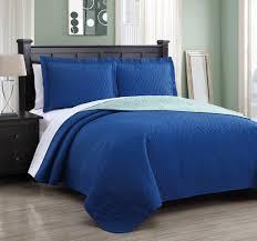 Modern Bedroom with Royal Blue Mint Bedding, Reversible Bed Sheet ... & Modern Bedroom with Royal Blue Mint Bedding, Reversible Bed Sheet Quilt Set  Queen, Reversible Adamdwight.com