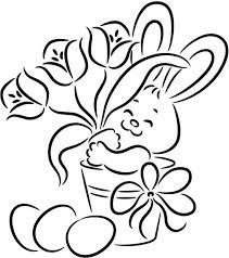 Print Easter Bunny With Flower And Egg Easy Easter Coloring Pages Or