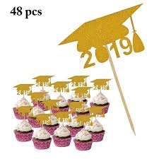 48pcs 2019 Graduation Cake Topper 2019 Doctorial Hat Cupcake Topper