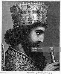 Engraved profile portrait of Xerxes , King of Persia, son of Darius I...  News Photo - Getty Images