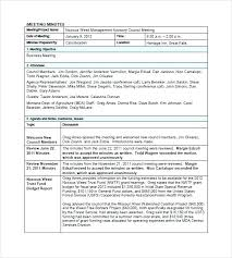 Example Of Project Meeting Minutes Template Annual Llc