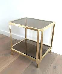late century pair of french brass and smoked glass end tables for coffee table round