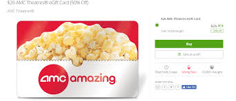 ymmv groupon 26 amc theatres egiftcard for 13 doctor of credit