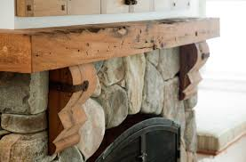 reclaimed antique salvaged oak mantel piece fireplace private residence rockport massachusetts