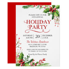Christmas Invitation Card Christmas Holly Berries Rustic Chic Holiday Party Invitation