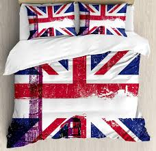 union jack duvet cover set grungy aged uk flag big ben double decker country culture historical landmark bedding set bedroom duvet sets bedding cover from