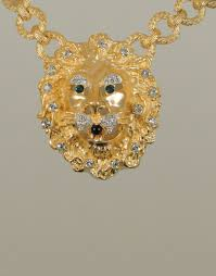 elv016 lion head necklace