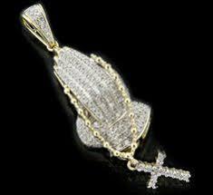 10k gold 0 35ct diamonds praying hands pendant