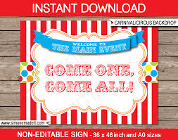 Printable Carnival Tickets Printable Carnival Party Backdrop Sign Circus Party