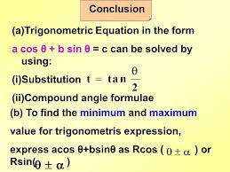 conclusion trigonometric equation in the form a cos θ b sin θ c
