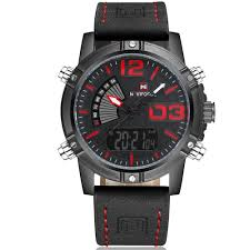 com naviforce mens og digital watch leather band led dual time military sport wrisch black and red beauty