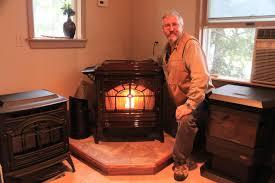 pellet stoves in showroom