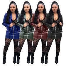 us 23 92 women long sleeves zipper faux leather cool casual club party con dress 2pc trystbeautiful com