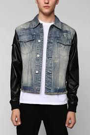 black apple faux leather sleeve broadway denim jacket