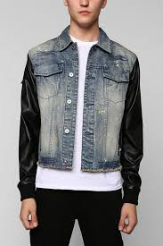 black apple faux leather sleeve broadway denim jacket