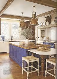French Country Island Kitchen Blue Island And Oven In French Country Kitchen This Is So Classic